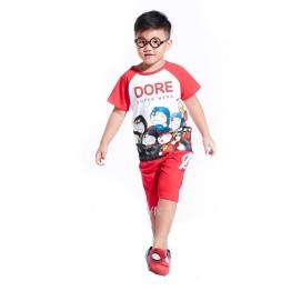 Bộ đồ thun Doraemon siêu anh hùng cho bé trai