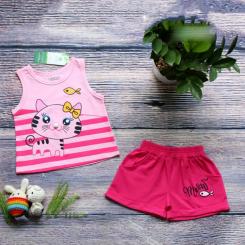 Bộ short thun mèo nơ cho bé gái từ 9kg - 27kg màu hồng