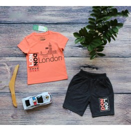 Đồ bộ in chữ London cho bé trai từ 28kg - 39kg màu cam