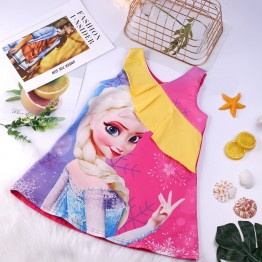 Đầm suông chữ A công chúa Elsa phối bèo xinh xắn
