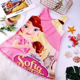 Đầm suông chữ A công chúa Sofia phối bèo xinh xắn