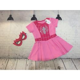 Đầm siêu nhân người nhện Spiderman bé gái từ 13kg - 32kg màu hồng