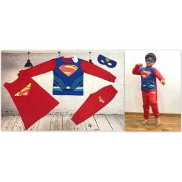 Đồ siêu nhân tay dài Superman cơ bắp màu xanh