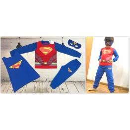 Đồ siêu nhân tay dài Superman cơ bắp màu đỏ