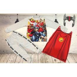 Đồ siêu nhân tay dài Comic in 3D Thần sấm Thor bé trai từ 11kg - 29kg