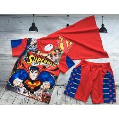 Bộ áo thun siêu nhân Superman đèn cảm ứng cho bé trai