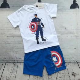 Bộ đồ thun tranh vẽ người hùng Captain cho bé trai từ 23kg - 37kg