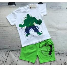 Bộ đồ thun tranh vẽ người khổng lồ Hulk cho bé trai từ 23kg - 37kg