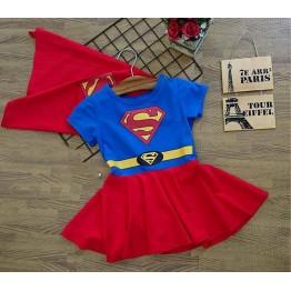 Đầm siêu nhân Superman cho bé gái Xanh