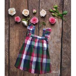 Đầm caro cho bé gái (12kg - 23kg) kiểu dáng xinh xắn màu đỏ