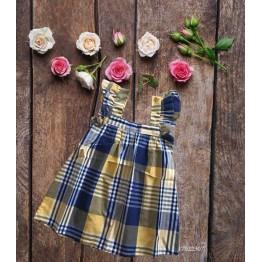 Đầm caro cho bé gái (12kg - 23kg) kiểu dáng xinh xắn màu vàng