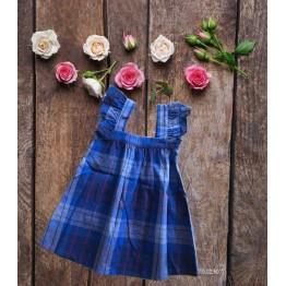 Đầm caro cho bé gái (12kg - 23kg) kiểu dáng xinh xắn màu xanh bích